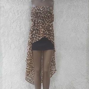 Forever 21 Animal Print Hi-Low Strapless Dress